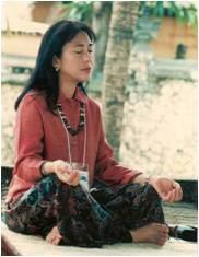 Marites meditating in Bali